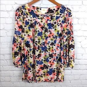 Anthropologie Maeve Floral Puff Sleeve Blouse Sz 4